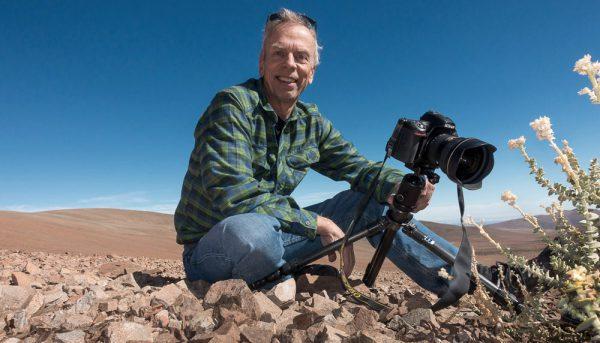 Photographer Gerhard Hüdepohl at work in the Atacama desert, Chile