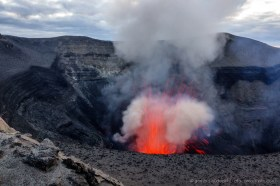 One of the regular eruptions of Mount Yasur volcano on Tanna Island, Vanuatu