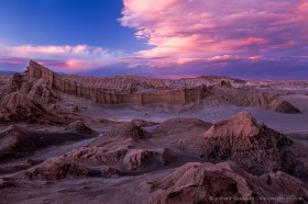 Red clouds over Valle de la Luna, dramatic sunset in San Pedro de Atacama