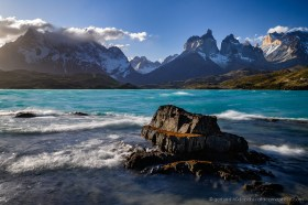 Spectacular morning at Lago Pehoe with view of the Paine Massif, Torres del Paine, Chile