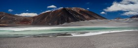 Panorama of Laguna del Jilguero, a remote and otherworldly place in the Altiplano Chile