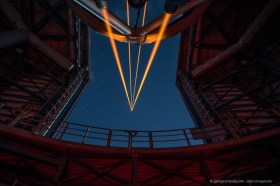 The four laser guide star of ESO's Very Large Telescope at Cerro Paranal