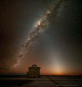 Amazing clear view of Zodiacal light at the dark skies at Paranal, Atacama desert in Chile