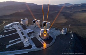 Aerial drone view of the four lasers of the Very Large Telescope Observatory on Cerro Paranal in Chile