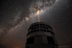 The Paranal VLT laser guide star is pointing at the galactic center