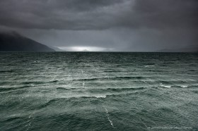 Bad weather and dark clouds in the Beagle Channel, Tierra del Fuego Chile