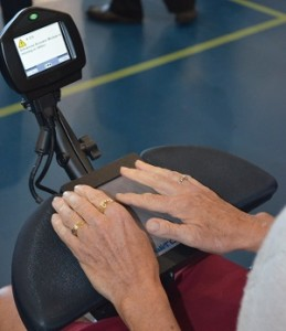 Touchpad controller on power wheelchair