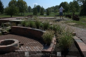 Wheelchair accessible pathways installed a garden which includes raised plant beds
