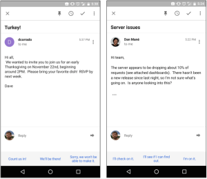 Smart Reply screen shot from an Android Device