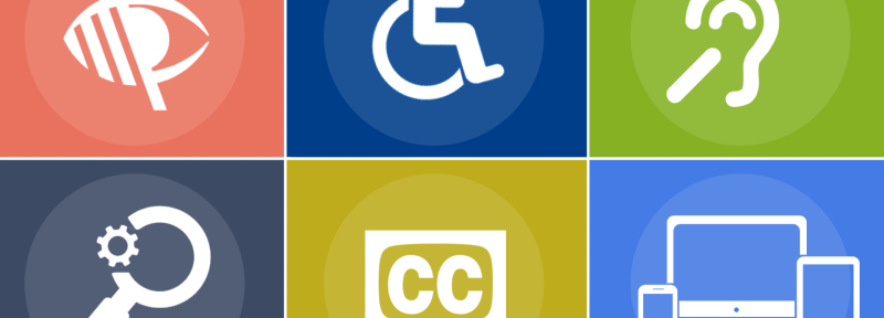 6 symbols in a 3 x 2 layout representing different aspects of accessibility. vision impairment, mobility impairment, hearing, low vision, subtitles, multiple platforms