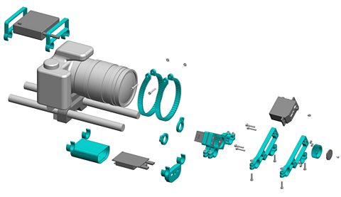 3d rendering of the 3d printable parts required for the big life fix camera solution