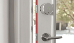 smart controlled lock on a door