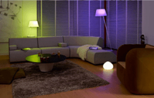 smart controlled lighting in a living room