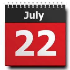 Calendar date 22nd July