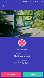Example of obstacle added by user - picture of gate which would not be accessible to wheelchair