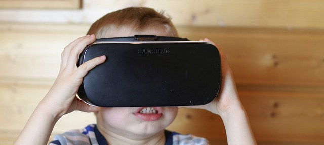 child wearing VR headset