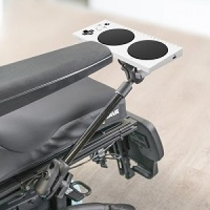 Ram mount with Xbox Adaptive Controller on wheelchair