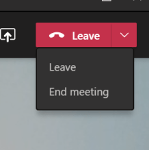 Leave button on Microsoft Teams