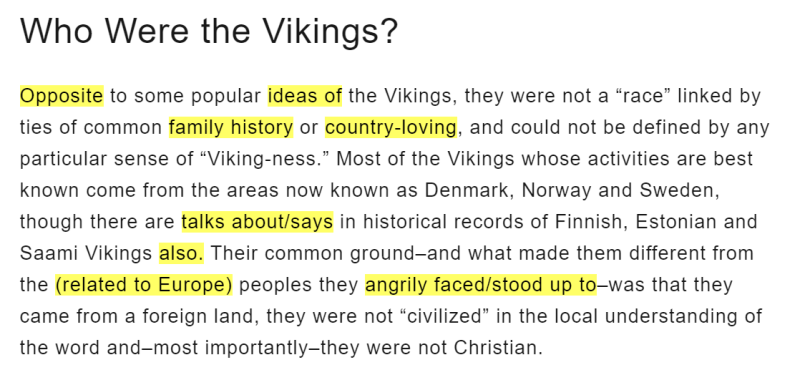 A paragraph of text with a heading of who were the vikings.  Some of the words are highlighted in yellow.