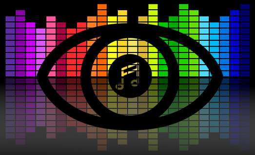 Black outline of an eye with a music note in the pupil superimposed in front of a multicoloured graphic equalizer display