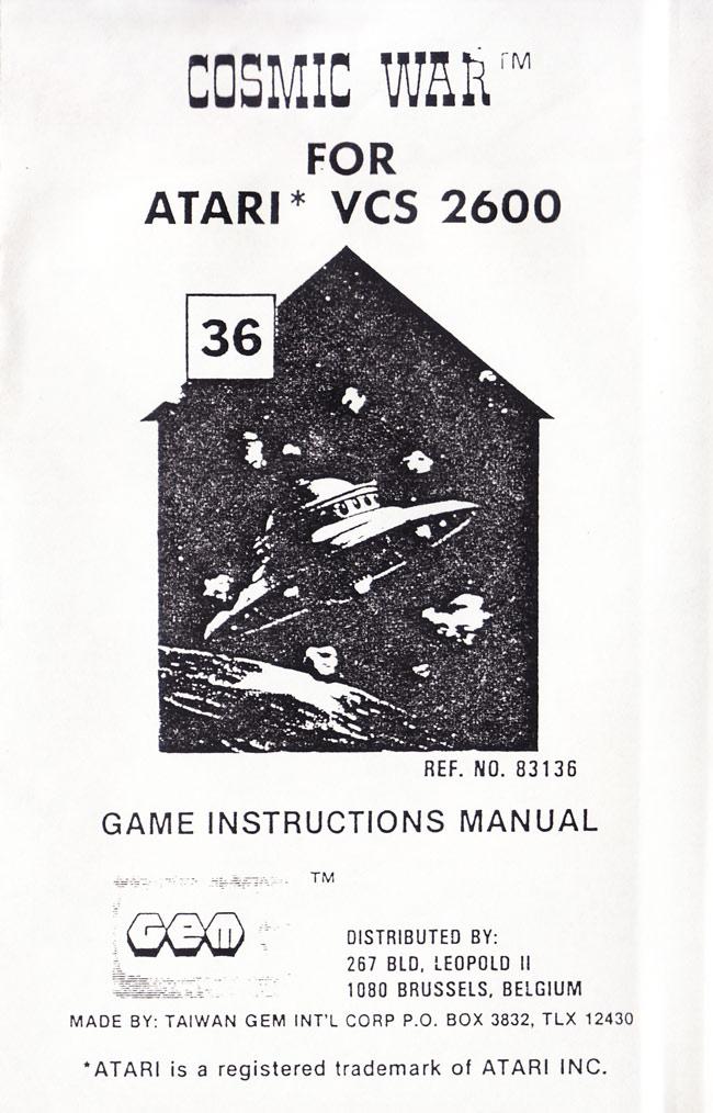 Atari 2600 VCS Cosmic War : scans, dump, download