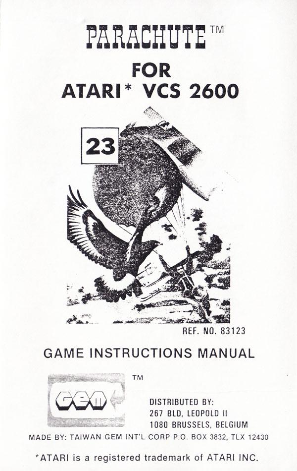 Atari 2600 VCS Parachute : scans, dump, download