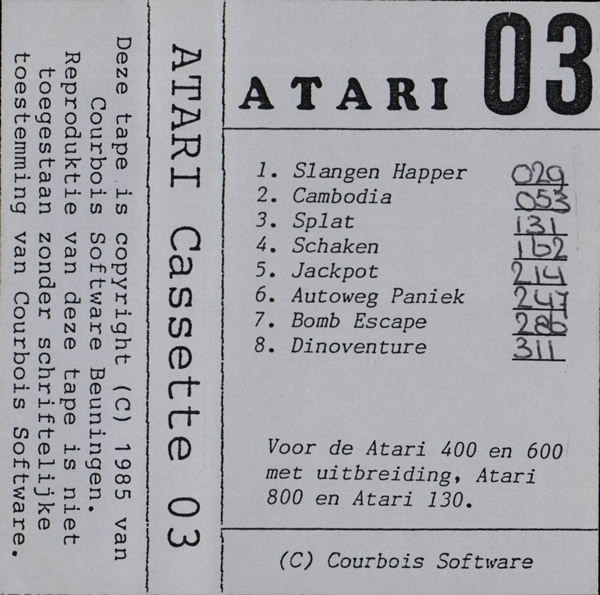 Atari 400 800 XL XE Atari Cassette 03 : scans, dump