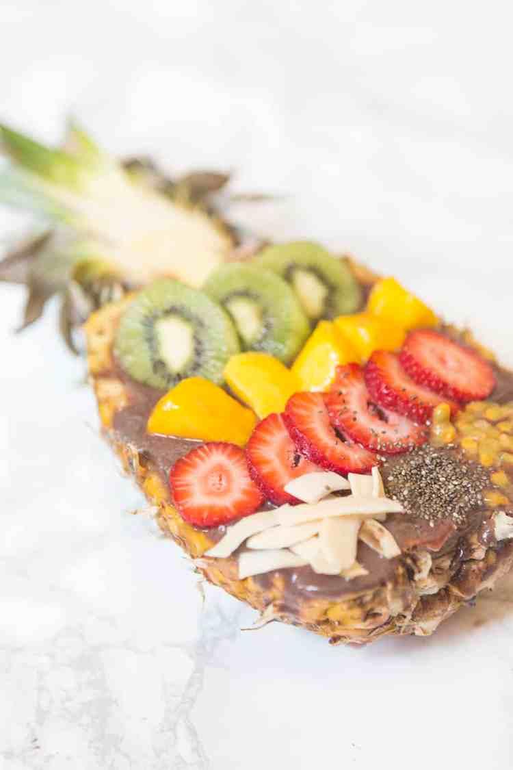 Acai Bowl Strawberries Kiwi Mango Pineapple