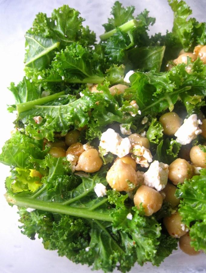 Feta Chickpea and Kale Salad