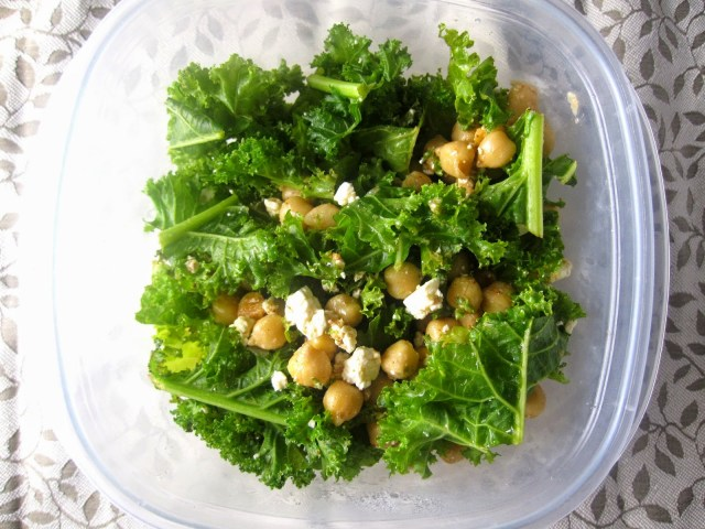 Feta Chickpea and Kale Salad