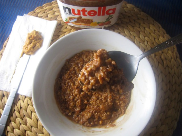Microwave Peanut Butter, Nutella and Coconut Oatmeal