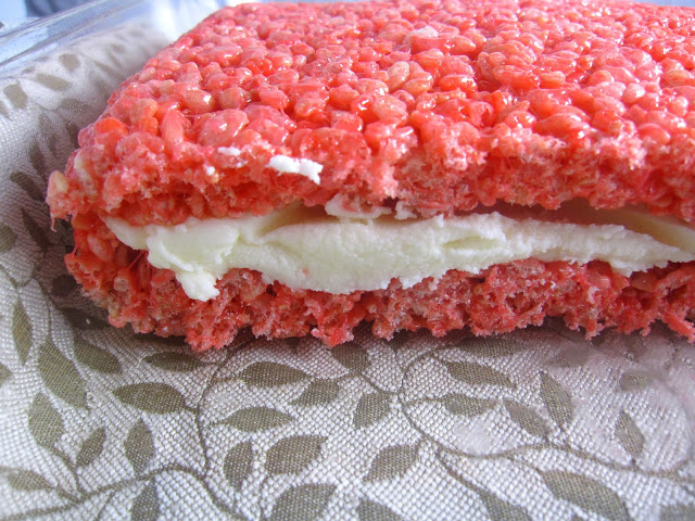 Red and White Rice Krispies Treats with Buttercream Icing