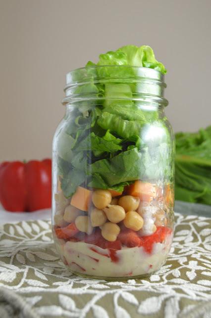 Romaine Lettuce and Chickpea Mason Jar Salad