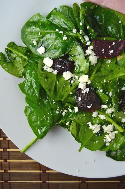 Roasted Beet and Feta Spinach Salad