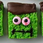 Frankenstein Rice Krispie Squares