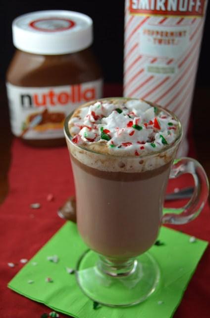 Boozy Peppermint Nutella Hot Chocolate