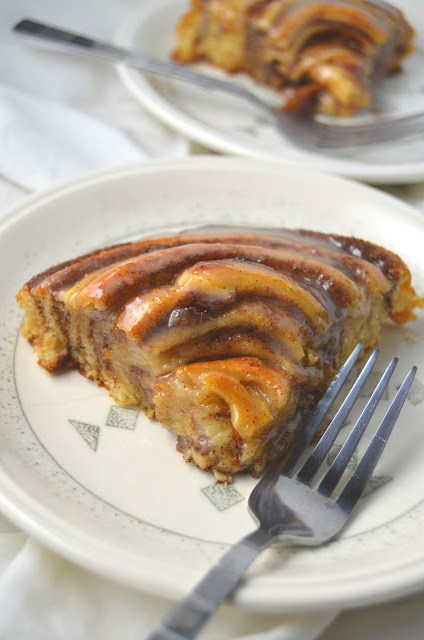 Easy Giant Cinnamon Roll Cake Recipe. Made with refrigerated crescent rolls