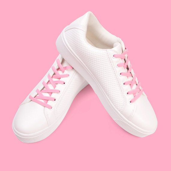 Atacadores elásticos rosa claro
