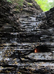 Eternal Flame burning beneath waterfall at Chestnut Ridge Park, NY