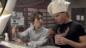 Actors Val Kilmer (left) and Gabriel Jarret (right), Real Genius (1985)