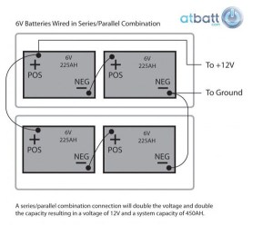 How to wire 6V Batteries in series or parallel configuration