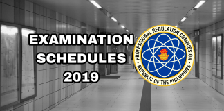 PRC Exam Schedules 2019