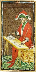 The Magician card from the Visconti-Sforza Tarot deck.