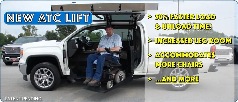 wheelchair lift for truck chair slipcover pattern at conversions accessible trucks suvs atc new