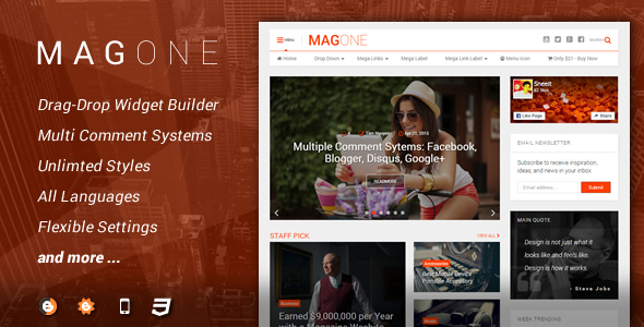 تحميل قالب MagOne مجانا للمدونات البلوجر