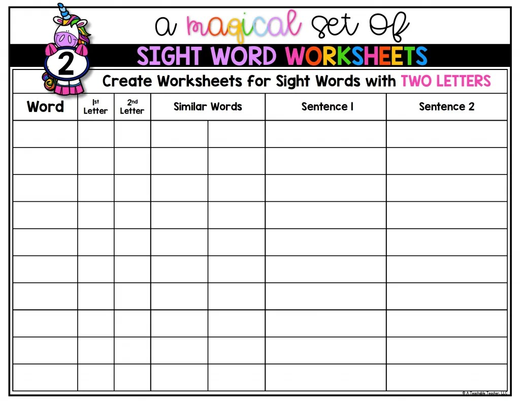 hight resolution of Editable Sight Word Worksheets - A Teachable Teacher