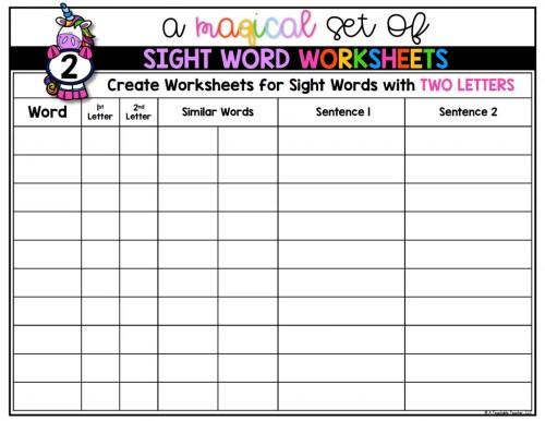 small resolution of Editable Sight Word Worksheets - A Teachable Teacher