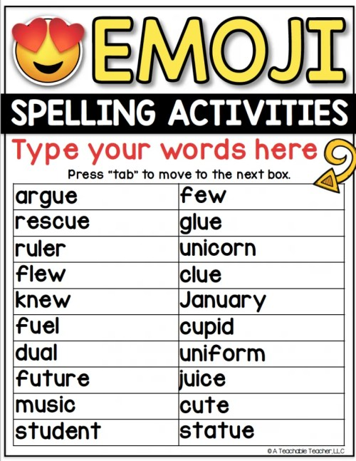 small resolution of Editable Spelling Word Worksheets for ANY Word List!