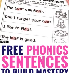 FREE Phonics Sentences Activities to Build Mastery and Fluency [ 1102 x 735 Pixel ]
