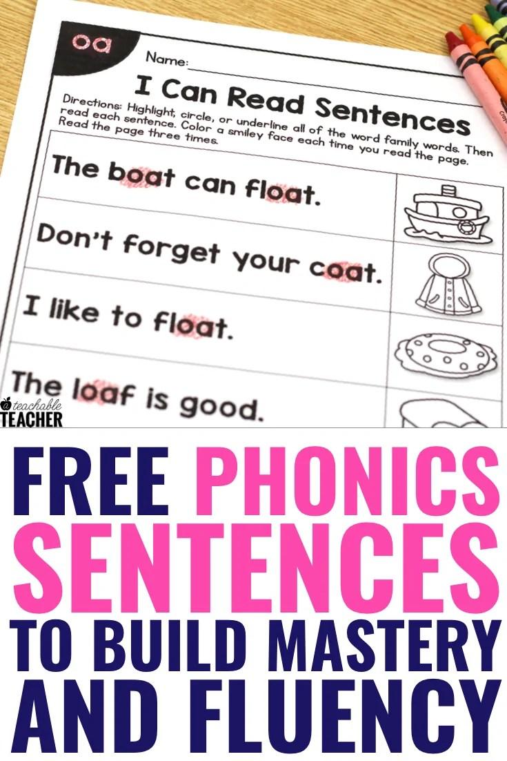 medium resolution of FREE Phonics Sentences Activities to Build Mastery and Fluency